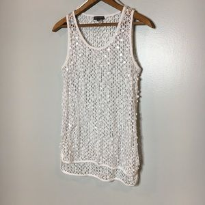 VINCE CAMUTO OPEN TANK OVERLAY WHITE SEQUIN SMALL